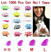 Free Shipping 14 Colors New Lots1000pcs Soft Cat Pet Nail Caps Claws Paws Off Control + 50 Adhesive Glue ZX003B Size XS S M L(China)