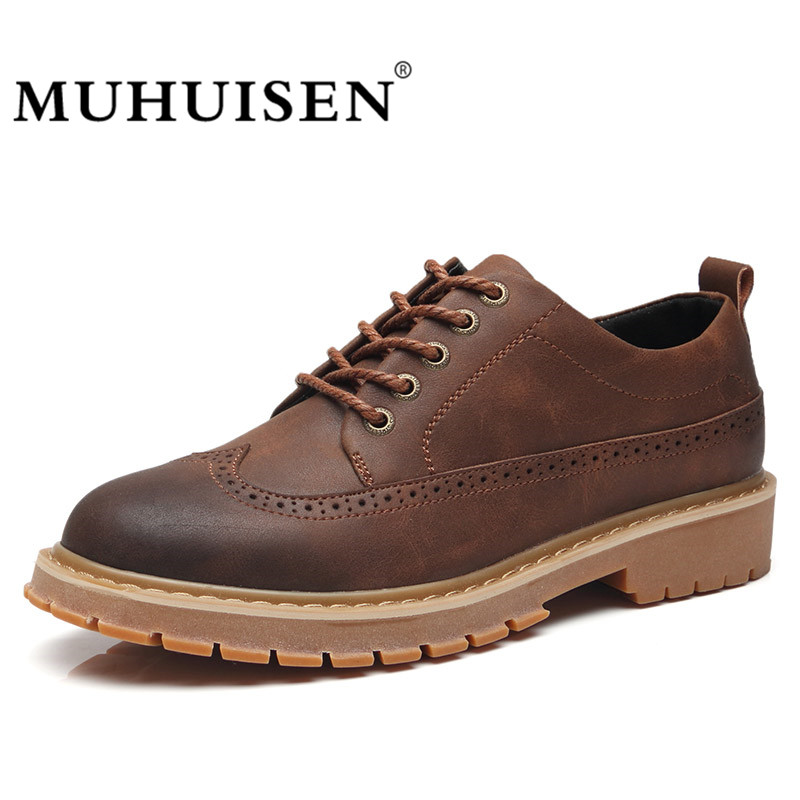 MUHUISEN Men Brogue Shoes Casual Leather Oxfords Shoes Luxury Italian Moccasins For Man Lace Up Footwear Flats Zapatos Mujer<br>