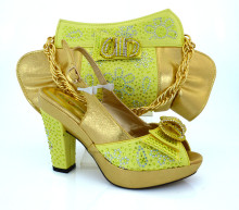 Nice yellow+gold Italian design high heel shoes and bags for party lady MM1019 multi color,heel 11.8cm