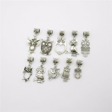 Buy Mix 20pcs Vintage owl charm European Pendant beads fit pandora style Bracelets Necklace DIY Metal Jewelry Making for $3.15 in AliExpress store