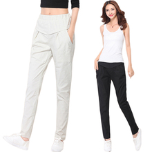 Women Linen Trousers 2017 New Summer Style Casual Harem Pants Elegant Ladies Pants Black White Simple Pants Female Plus Size WQ2(China)