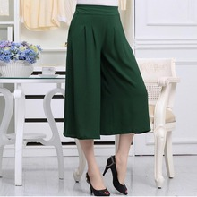 Middle-aged and old clothing women's belly in tall waist wide-legged pants in summer P7239(China)