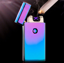 2015 Hot Excellent 5 Styles USB Rechargeable Flameless Electric Double Arc Windproof Cigar Cigarette Lighter +Free Shipping
