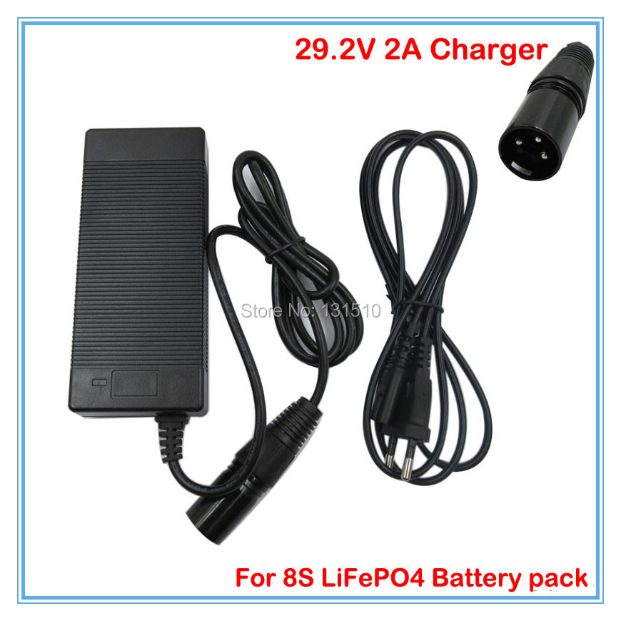 29.2V 2A charger 29.2V LiFePO4 Battery Charger 24v scooter charger XLRM Port 100-240V For 8S 24V LiFePO4 Battery pack(China (Mainland))