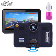 2016 7 inch GPS Navigation android radar detector with DVR rear view automobile navigator europe or navitel Map truck gps