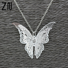 Hot Hollow-out Silver Butterfly Pendant Necklace Elegant Solid Butterfly Silver Chain Fashion Jewelry Sweet Gifts