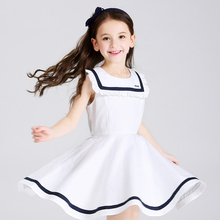 Girls Dress Kids Clothing Navy Style Big Collar Cute Fashion Clothes for Big Little Sisters Age345678 9 10 12 13 14 15Years Old(China)