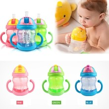 Fashion kids 240ml blue/pink/green children water drinking cup plastic girl boy straw cup bottle
