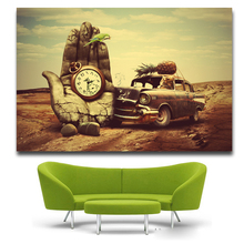 Salvador Dali Surreal Hand watch car pineapple parrot Surreal Classic Art Painting Silk Poster Decor Free Shipping(China)