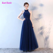 Fashion Dark Royal Blue Evening Dresses Long 2017 Sexy Casual Evening Gowns Halter Lace-Up Appliques Beading Lady Formal Dress(China)