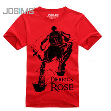 2016 Summer Style Derrick Rose T Shirts Men Fashion Casual Short Sleeve Men T-Shirt Rose Tops Tee Chicago A1584(China)