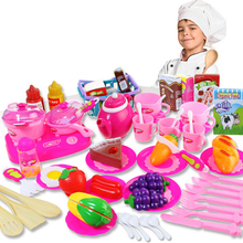 54Pcs Plastic Fruit Vegetable Kitchen Cutting Cooking Toy Early Development and Education Toy for Children As Xmas Gift