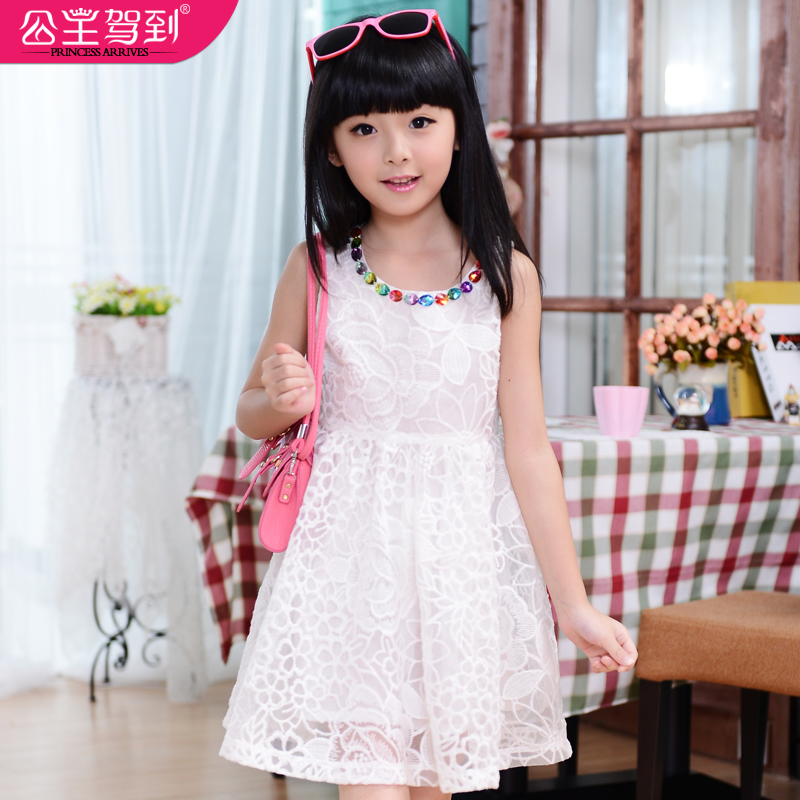Princess childrens clothing  summer female child  organza embroidered one-piece dress white green clothing free shipping<br><br>Aliexpress