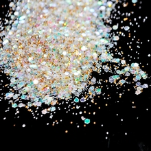 Clear Gold Mix Sequins UV Gel Nail Art Glitter Dust Powder For UV GEL Acrylic Powder Nail Art Decoration Tips DIY Free Shipping