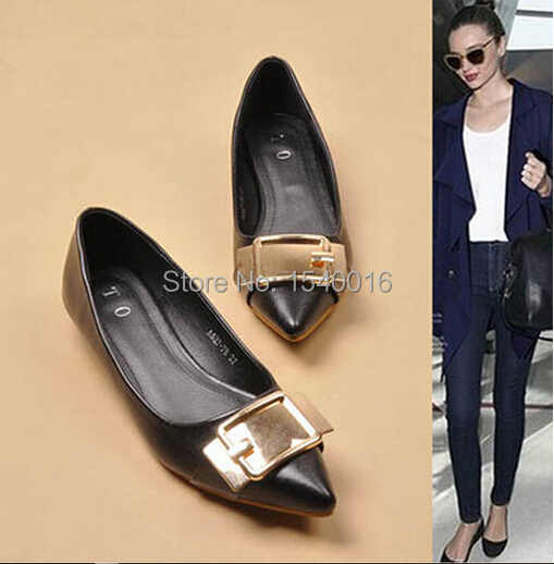 Free shipping new fashion personality low metal buckles pointed comfortable with flat shoes, big yards womens shoes<br><br>Aliexpress