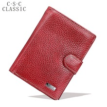 Red Real Genuine Leather Wallet Women Money Pocket Large Purses Travel Passport Cover Wallets Carteras Mujer Portefeuille Femme