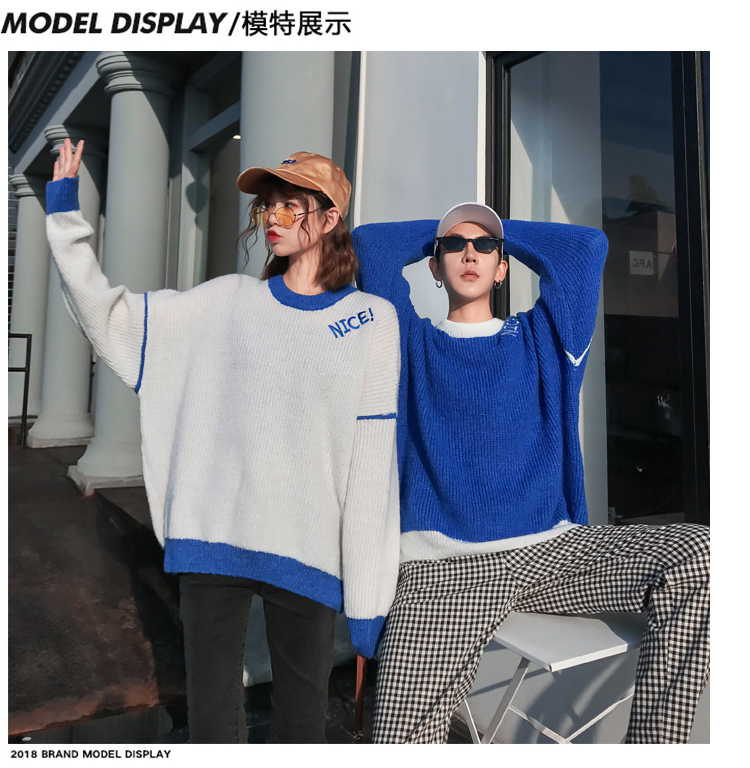 95217e7f9c Couple Sweaters for Him and Her Matching Couple Clothes Knitted Top White  Blue Letter Print Loose Couple Sweater Pullovers 1911 ...