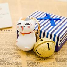 Amazing Cute Funny Laughing Cat With Tinkle Bell Boutique Keychain Perfect For Purse Charms Bag Accessory Novelty Lucky Cat(China)