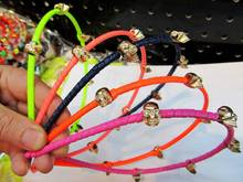 Wholesale and Retail fashion Party colorful skull rolled by leather  hairband hair accessory headband 12pcs/lot