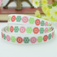 "High quality new 9mm 3/8"" Christmas colours Snow, the green and the red setting off each other print grosgrain ribbon(China)"