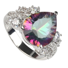 Rave reviews Rainbow Mystic and white Cubic Zirconia Rhodium Plated Ring R3322 Size #6 7 8 9 Christmas gift Promotion Brand New