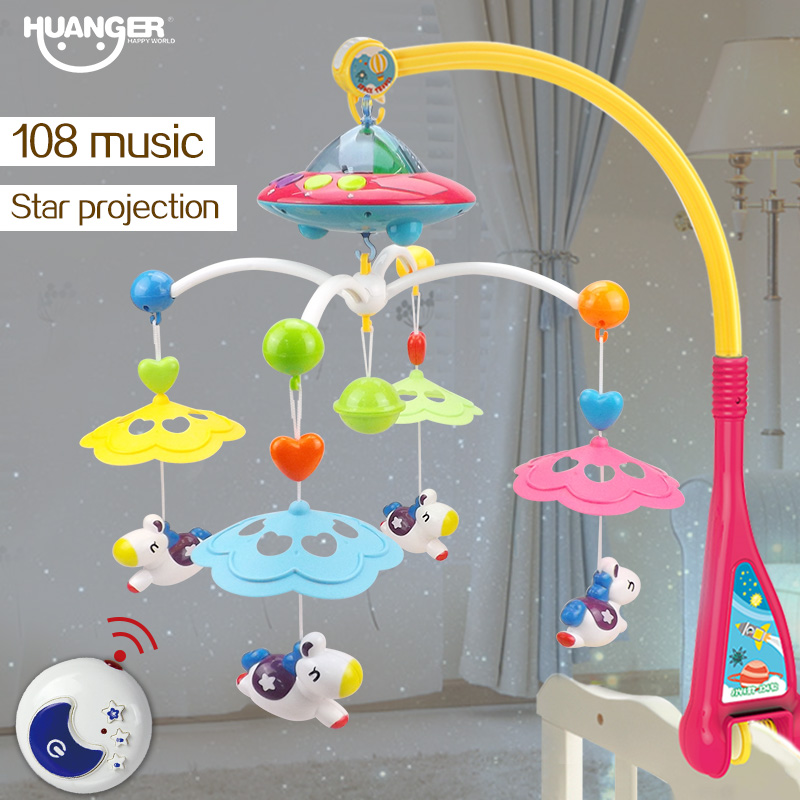 Aliexpress Com Huanger Musical Crib Mobile Bed Bell Baby Rattle Rotating Bracket Projecting Toys For 0 12 Months Newborn Kids Christening Gift From