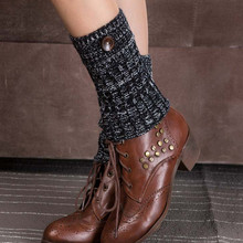 New Womens Knitting  Leg Warmers Buttons Boot Socks Short Boot Toppers Chaussettes Sock Gaiters Crochet Boot Cuff  Socklet