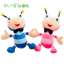 2 Styles Colorful Animal Plush Toys Ant Stuffed Cotton Fluffy Soft Ant Toys Cushion Bee dolls Decorations Gift for kids