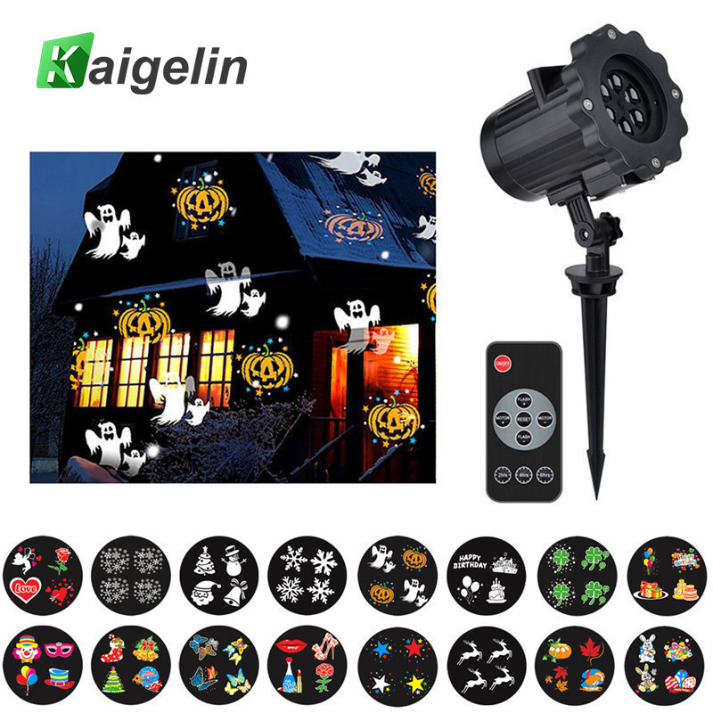 16 Film Cards Snow Projector Christmas Lights Outdoor Laser Fairy Light Projection Laser Projector Christmas New Year Decoration<br>