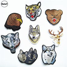 8 PCS/LOT Animals Parches Embroidery Iron on Patches for Clothing DIY Stripes Clothes Wolf Stickers Deer Tiger Appliques @X0(China)