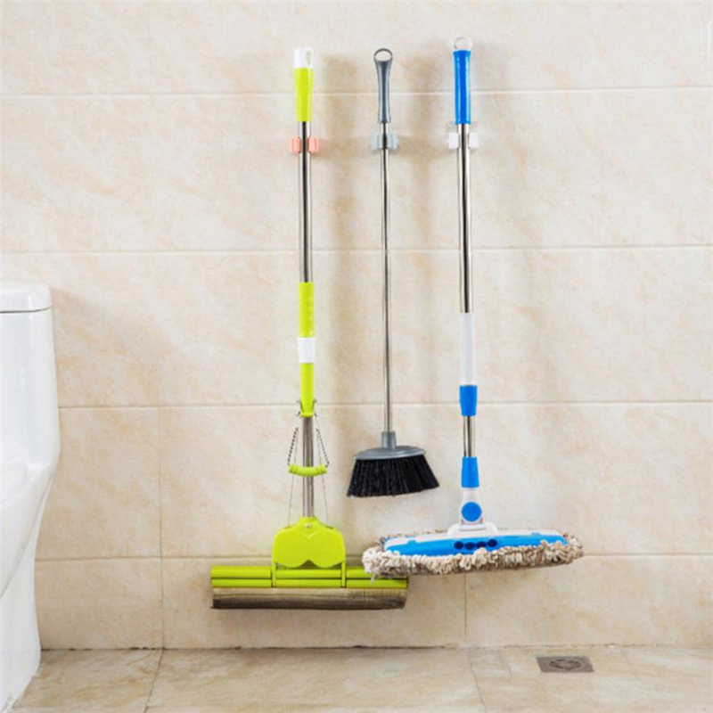 New Creative  Wall Mounted Mop Organizer Holder Brush Broom Hanger Storage Rack Kitchen Tool Wear-resistant hot Easy Use   C022805