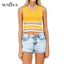 2017 Summer Women Sleeveless O- neck Shirts Loose Type Cotton Elastic Basic Short T-shirts Female Casual Tops black yellow color