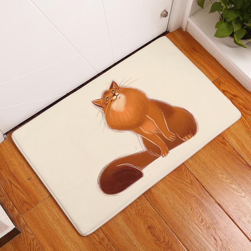Cartoon Flannel Carpet Cats Printing Mat For Living Room 40x60cm 50X80cm  Door mat Rectangle Tapete ede84782b3