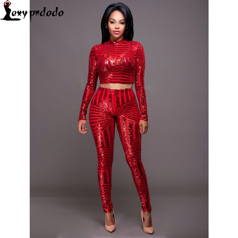 Sequined Long-Sleeve Women Two Pieces Sets Crop Top + Long Pant 2016 Bodycon Skinny Sexy Jumpsuit Hollow Out 2PC Long Rompers US