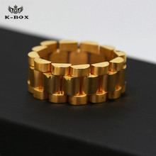 New Stainless Steel 24K Golden Link Ring Hiphop Mens Watchband Style President Big Ring US Size 8-12 High Quality Ring