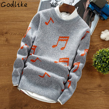 GODLIKE 2018 New Men's Fashion Trend Music Note Printing Geometry Round Neck Long-sleeved Thick Knitting Stylish Male Sweater(China)