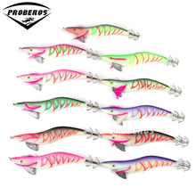 "6pc Top Brand Proberos 5# Squid Jigs Fishing Lure 11 Color fishing tackle Length 7.5""/1.5oz Fishing Bait  Squid bait"