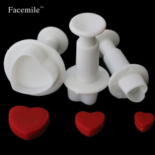 3pcs Love Heart Shape Cookie Plunger Cutter Fondant Gum Paste Cupcake Toppers Mold Biscuit Christmas Gigt Decorating Tool 01065