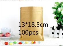 Jolly 12.9  Doypack Ziplock Kraft Paper Bags Pack Package Retail Storage Bag for Dried Food Cooffe Nut (accept logo print)