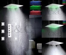 4 Water Functions Work Together Or Separately 20 Inch Rain & Atomizing Shower Head Bathroom LED Shower Faucet Set