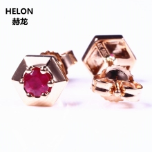 Solid 14k Rose Gold Earrings Natural Ruby Women Trendy Stud Earrings Fine Jewelry Charming Classic(China)