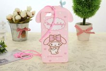 For huawei honor 4 3D cartooon silicon cover,honor 4 cute Lanyard melody soft back cover case,pink melody case