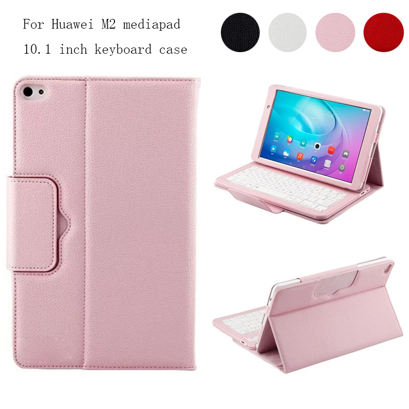For Huawei MediaPad 10.0 M2-A01W / M2-A01L Magnetically Detachable ABS Bluetooth Keyboard Portfolio PU Leather Case Cover <br>