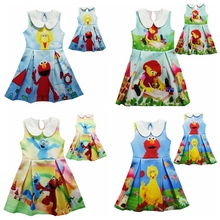Retail New arrive Model Baby Girl Dress Sesame Street Elmo Cartoon Dress Summer Children Kids Costumes For Girls Party Dresses