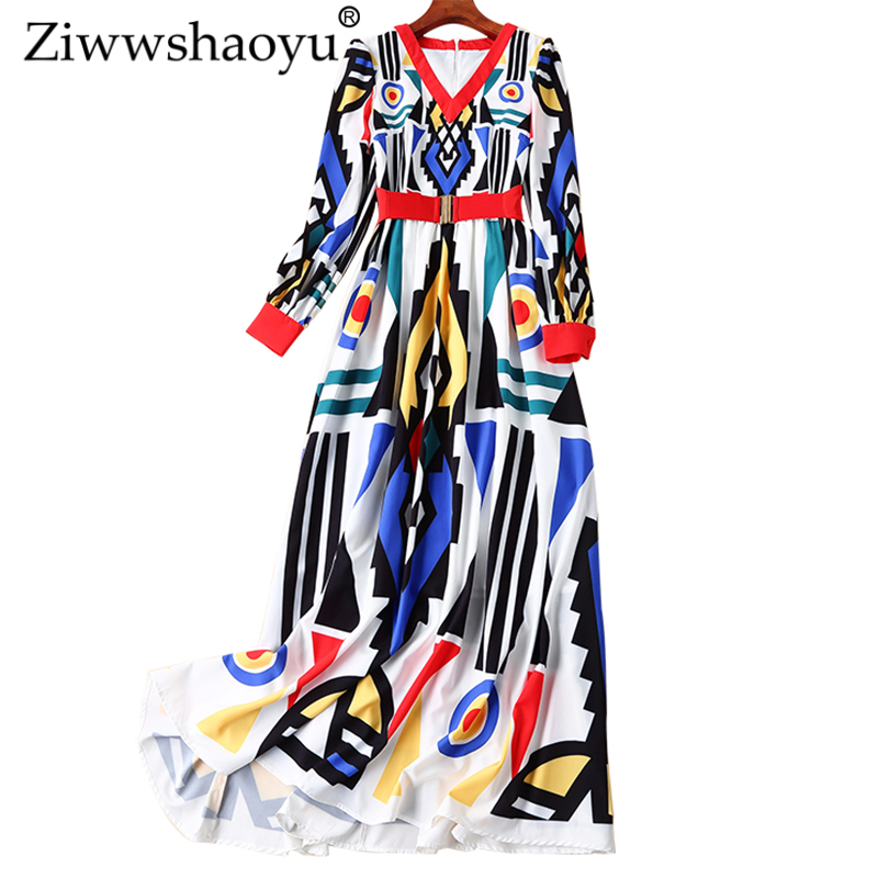 Women Fashion Maxi Long Sleeve V-Neck Printed Celebrity Party Long Sashes Dress