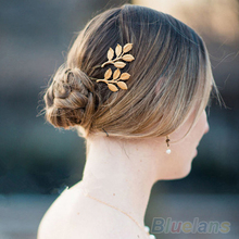 1Pc Fashion Lovely Leaves Golden Metal Punk Hairpin Hair Clip Hair Accessories 41N6