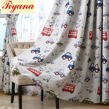 1 Panel Cartoon Cars and Bus Printed Kids Room Semi-Blackout Curtains Room Darkening Thermal Insulated Window Panel WP146a *30(China)