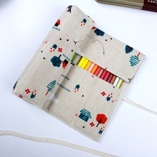 iron Tower scenery Canvas Pencil Case 36/48/72 Holes Roll School Pencil Bag material escolar School Supplies estuche escolar