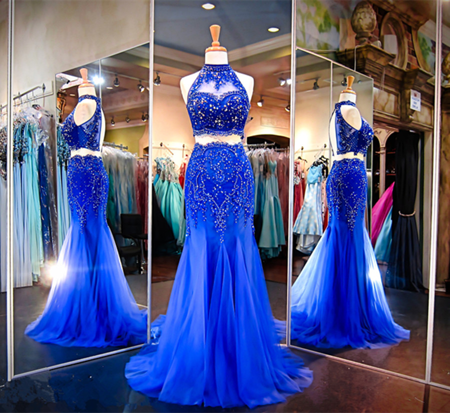 G615 2018 Blue Mermaid Two Piece Prom Dresses Off the Shoulder Beading Long Evening Party Dresses Custom Made robe de soiree