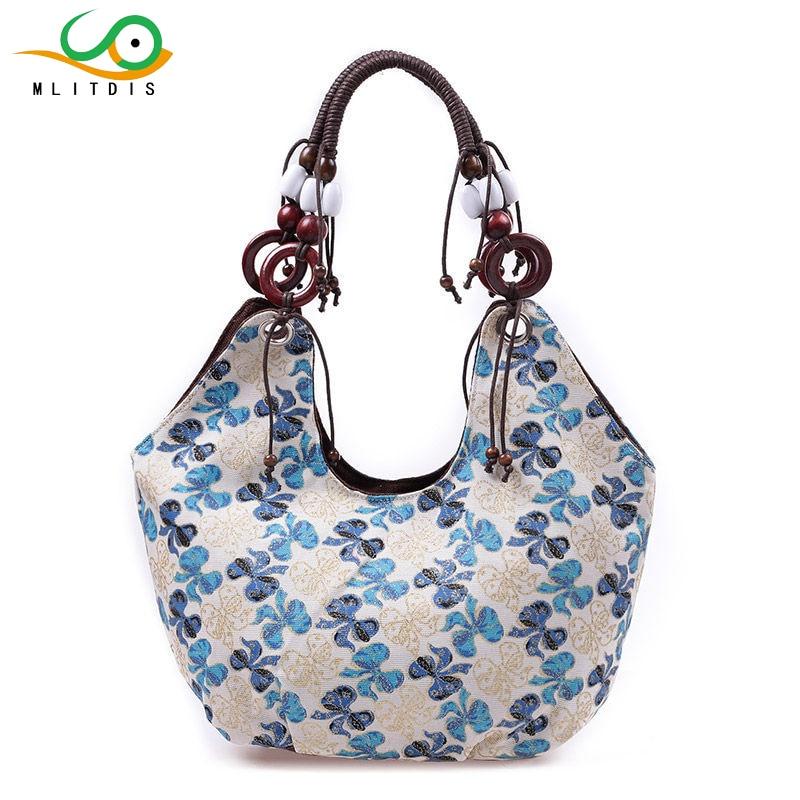 MLITDIS Flower Large Canvas Tote Bag 2017 Luxury Women Shoulder Bags Fashion Women Bag Brand Handbag Summer Beach Bolsa Feminina<br>